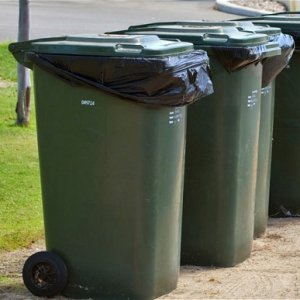 Row of wheelie bins. Waste disposal options.